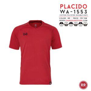 เสื้อฟุตบอล Warrix รุ่น Placido สีแดง WA-1553-RR