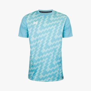 เสื้อฟุตบอลพิมพ์ลาย Warrix สีเทอควอยซ์ WA-1555-CC