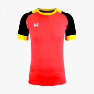 เสื้อฟุตบอลตัดต่อ Warrix สีแดง-ดำ WA-1561-RA