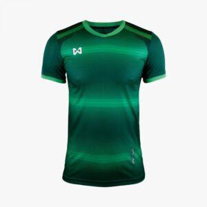 เสื้อฟุตบอลพิมพ์ลาย Warrix สีเขียว WA-1562-GG
