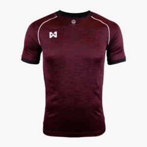 เสื้อคอวีพิมพ์ลาย Warrix สีเลือดหมู-ดำ WA-1563-MA