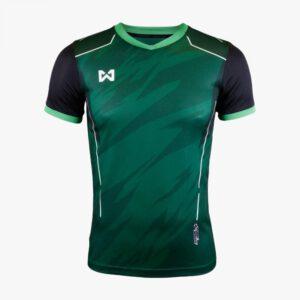 เสื้อฟุตบอลพิมพ์ลาย Warrix สีเขียว-ดำ WA-1564-GA