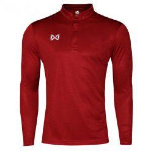 เสื้อโปโล Warrix แขนยาว สีแดง WA-3322-RR