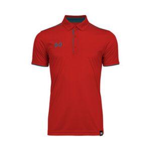 เสื้อโปโล WARRIX สีแดง-ฟ้าน้ำทะเล WA-3326-RI