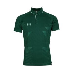 เสื้อโปโลเบสิคแขนสั้น Emboss สีเขียว WA-3327-GG