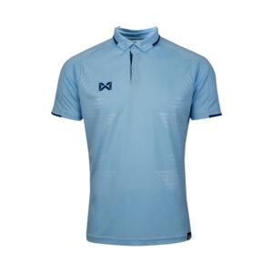 เสื้อโปโลเบสิคแขนสั้น Emboss สีฟ้า WA-3327-LL