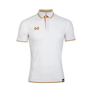 เสื้อโปโลเบสิคแขนสั้น สีขาว-น้ำตาล WA-3328-WT