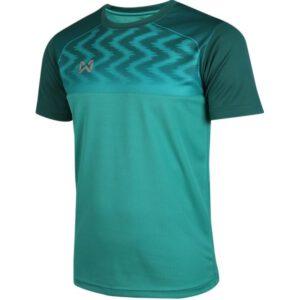 WARRIX เสื้อฟุตบอลคอกลมตัดต่อ แขนสั้น สีเขียว WA-FBA573-GG