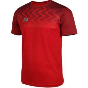 WARRIX เสื้อฟุตบอลคอกลมตัดต่อ แขนสั้น สีแดง WA-FBA573-RR