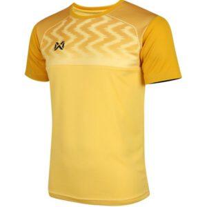 WARRIX เสื้อฟุตบอลคอกลมตัดต่อ แขนสั้น สีเหลือง WA-FBA573-YY