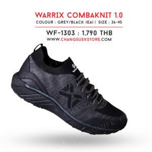 WARRIX รองเท้าผ้าใบ วอริกซ์ สีเทา-ดำ รุ่น Combaknit 1.0 WF-1303-EA