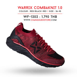 WARRIX รองเท้าผ้าใบ วอริกซ์ สีแดง-ดำ รุ่น Combaknit 1.0 WF-1303-RA