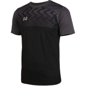 WARRIX เสื้อฟุตบอลคอกลมตัดต่อ แขนสั้น สีดำ WA-FBA573-AA